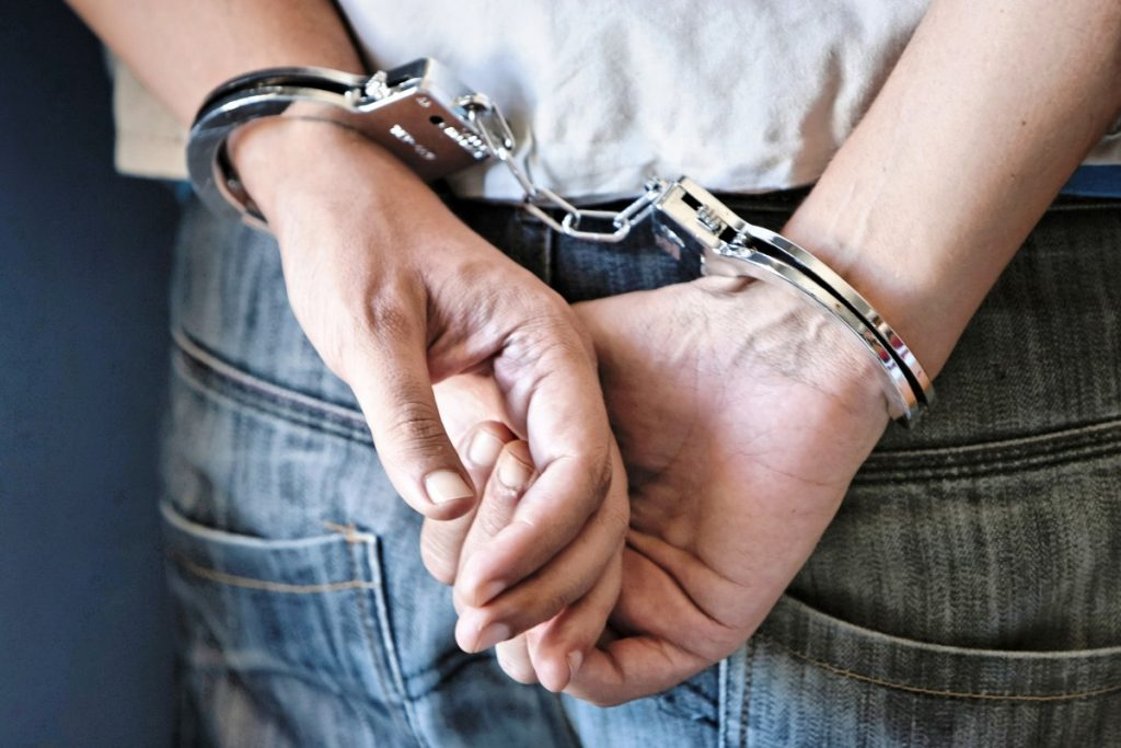 Criminal handcuffed