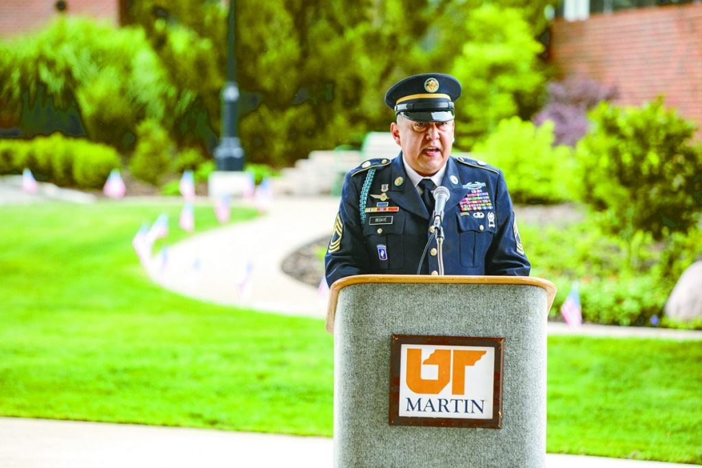Army Master Sgt. Conrad Begaye, who serves as senior military science instructor at UT Martin, was the keynote speaker at Friday's virtual Memorial Day services.