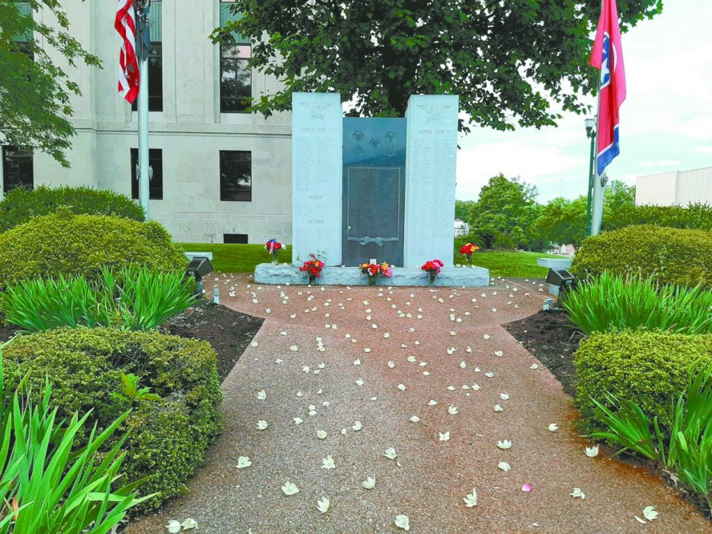The Weakley County War Memorial lists the names of military service men and women who were killed while serving in foreign wars.