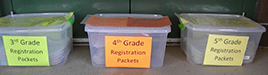 Throughout this week, parents with children attending Martin Primary and Elementary schools are asked to pick up registration packets in plastic tubs at the entrances of the schools in lieu of a traditional registration process.