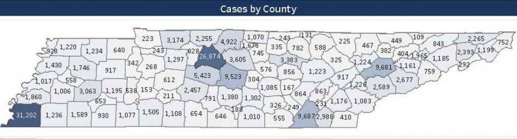 Statewide cases by county as of Tuesday, September 29, 2020