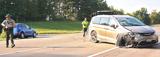 The Tennessee Highway Patrol and Weakley County Sheriff's Department cleared the scene of a two-vehicle accident at the intersection of Highway 43 and Smith Road outside of Martin Wednesday afternoon.