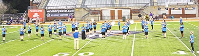 "Members of the Westview High School Marching Band opened the Chargers' first home game against Covington Friday night at UT Martin's Hardy Graham Stadium playing ""The Star-Spangled Banner."" Band members will provide half-time entertainment at each of the Chargers' home football games."