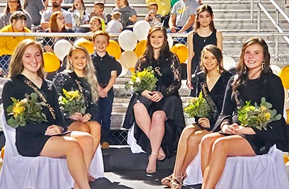 The Dresden Lions football team hosted the Gleason Bulldogs Thursday, October 22 at the Lions' stadium. This game served as Dresden's Homecoming as well as Senior Night. Named to Dresden's Homecoming Court were (L to R) Sophomore Maid Cora Ogg, Senior Maid Caroline Killebrew, Homecoming Queen Taylor Oliver, Junior Maid Parker Ferrell and Freshman Maid Ashlee Mallon. Serving as student attednats to the court were (standing, L to R) Mason Abbott and Tess Ogg. Photo by Jennifer Schlicht