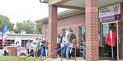 The Weakley County Election Commission office in Dresden has experienced lines daily since the beginning of the early-voting period for the November 3, 2020, election. The first day of early voting was Wednesday, October 14. Photo by Jasmine Williams/The Enterprise