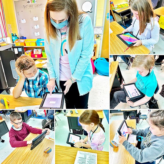 Third graders in Becky Anderson's class at Dresden Elementary School moved quickly from one lesson in the large group to individual math work using the current iPads. The grant from Casey's will allow for the purchase of several new devices.