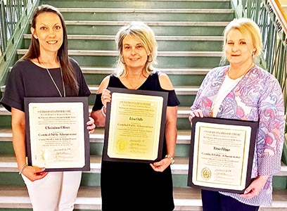 (L to R) Christina Oliver, deputy clerk in the County Clerk's office; Lisa Odle, deputy clerk in the Assessor of Property's office; and Tina Higgs, deputy clerk in the Register of Deeds' office recently earned the designation of Certified Public Administrator from the University of Tennessee Institute for Public Service.