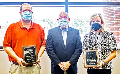 Nathan Tolene (L) and Heather Hodges (R), both of Martin, received the Fall 2021 Outstanding Employee Awards from the University of Tennessee at Martin during the Fall Clerical and Support Staff Coffee on October 14. They are pictured with UT Martin Chancellor Keith Carver.